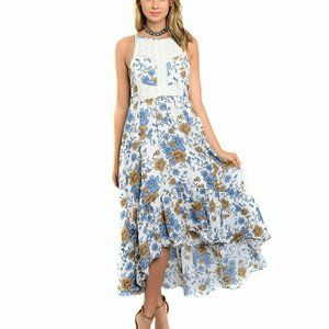 Blue Floral & Crochet Open Back Hi-Lo Maxi Dress